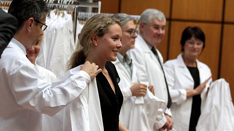 Four hundred students received the white coat