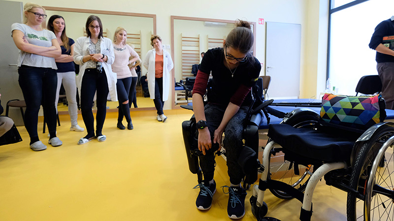 International research on exoskeletons for patients with severe spinal cord injuries