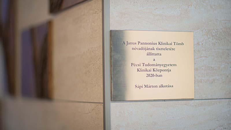 Janus Pannonius emlékművet avattak a Janus Pannonius Klinikai Tömbben