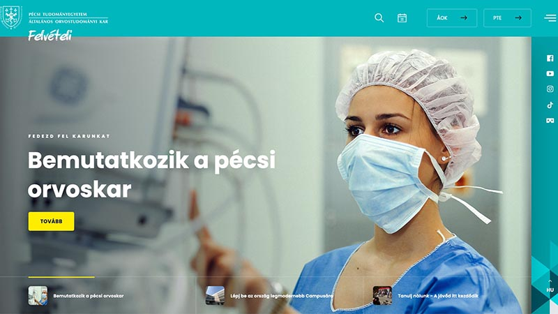 Future Pécs medical students greeted by renewed admission website