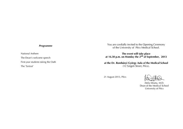 UP MS - News - Invitation to the Ceremonial Opening of the Academic Year