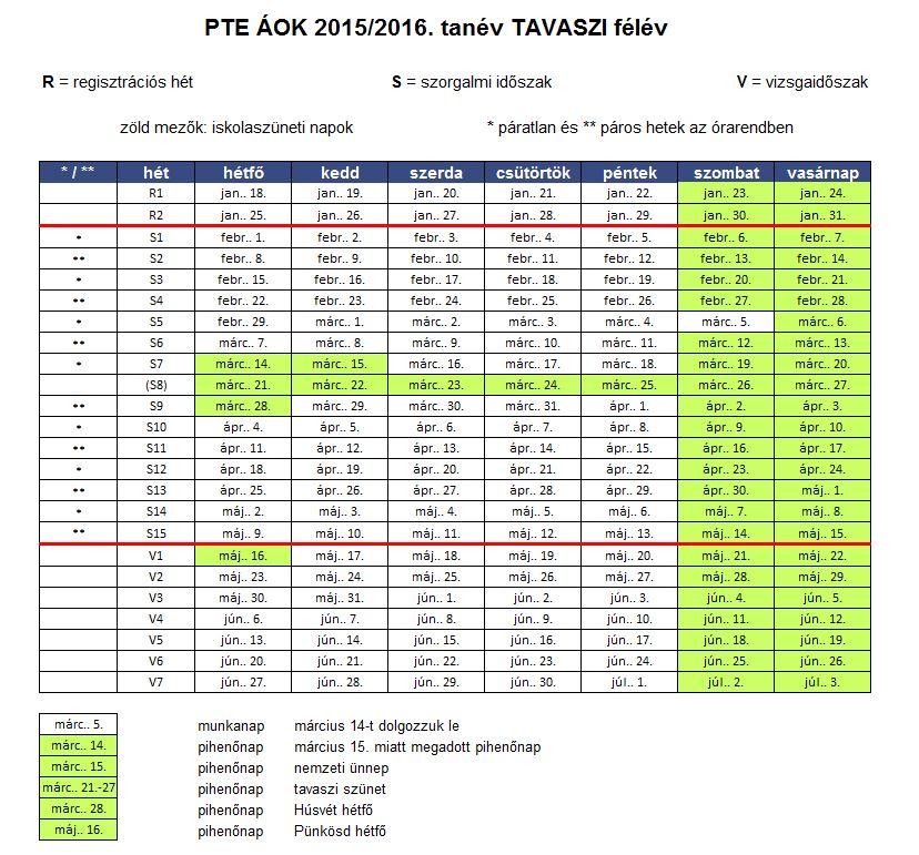 Munka- és munkaszüneti napok a 2015/2016. tanév őszi félévében